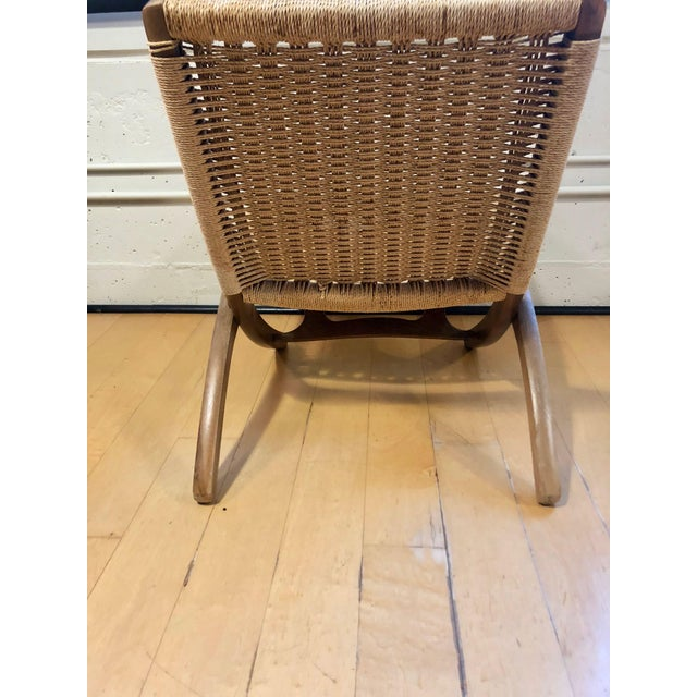 1960s 1960's Danish Modern Folding Rope Chair & Ottoman - 2 Pieces For Sale - Image 5 of 10
