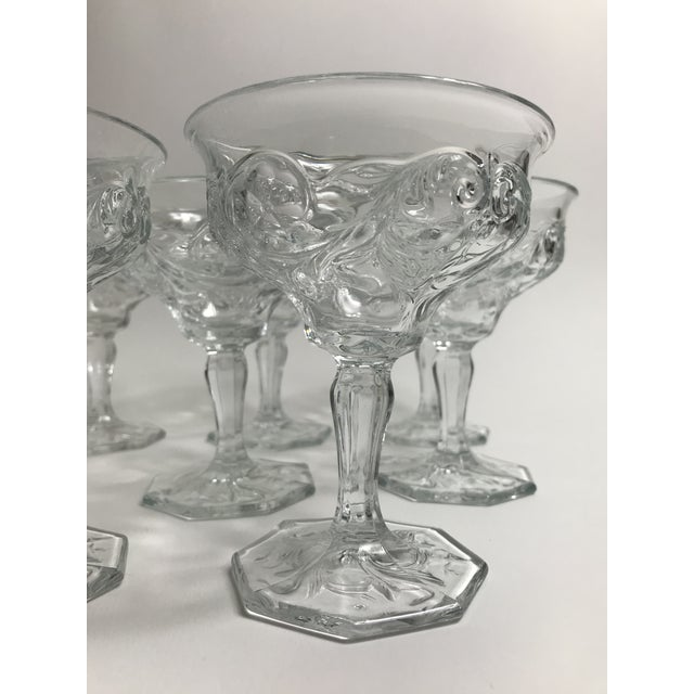 Art Nouveau Rock Crystal Clear Coupe Champagne Glasses by McKee - Set of 8 For Sale - Image 4 of 7