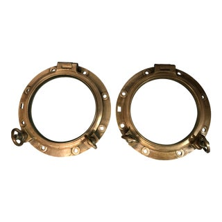Vintage Large Brass Portholes - a Pair