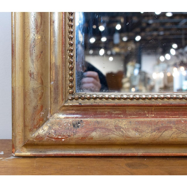 Gold Antique French Gilt Louis Philippe Mirror With Floral Decoration For Sale - Image 8 of 13