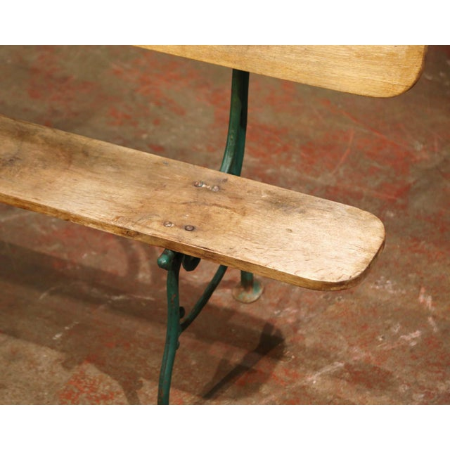 Metal Early 20th Century French Oak and Green Painted Cast Iron Garden Bench For Sale - Image 7 of 12