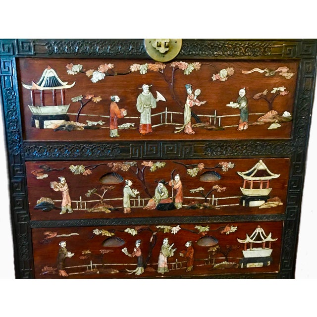 Antique Chinese Carved Camphor Wood Trunk and Dresser Set With Inlaid Stone For Sale - Image 11 of 12