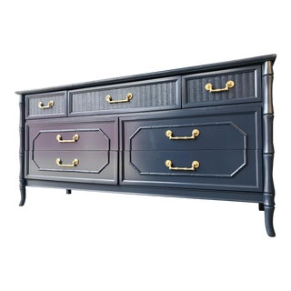 Faux Bamboo Broyhill Newly Lacquered Dresser For Sale