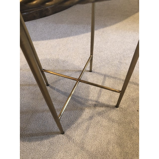 2010s Antique Marble Top & Brass End Table For Sale - Image 5 of 8