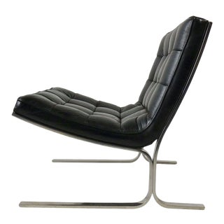 Nicos Zographos Black Leather Lounge Chair For Sale