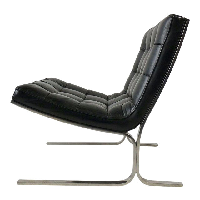 Nicos Zographos Black Leather Lounge Chair - Image 1 of 6