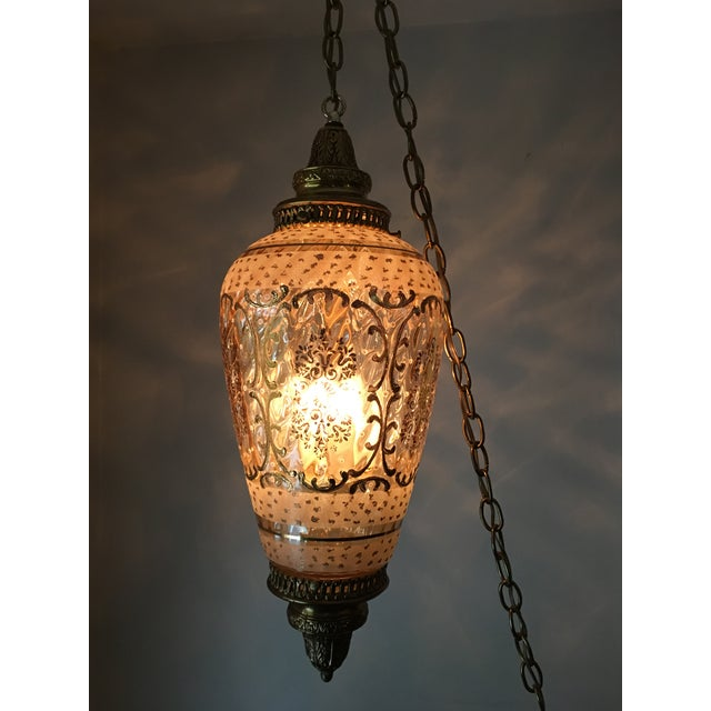 467adb699c45 Mid-Century Hollywood Regency Brass Hanging Pendant Light For Sale - Image  4 of 12