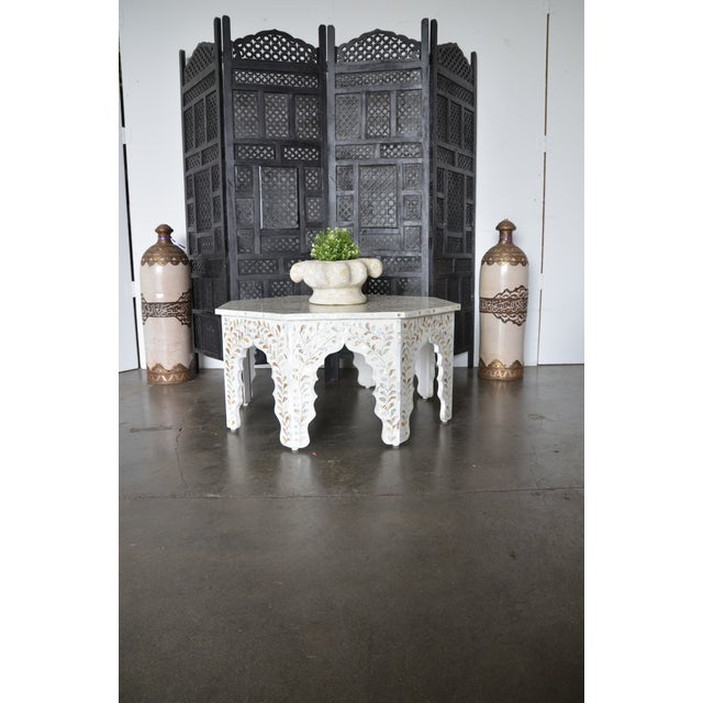 Moroccan Mother of Pear and White Octagonal Coffee Table For Sale - Image 9 of 10