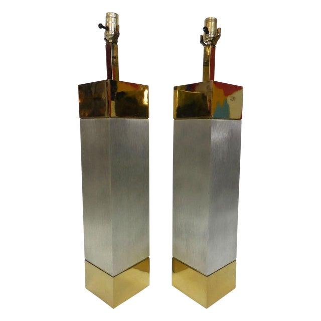 Laurel Brushed Aluminum & Brass Lamps - A Pair - Image 1 of 9
