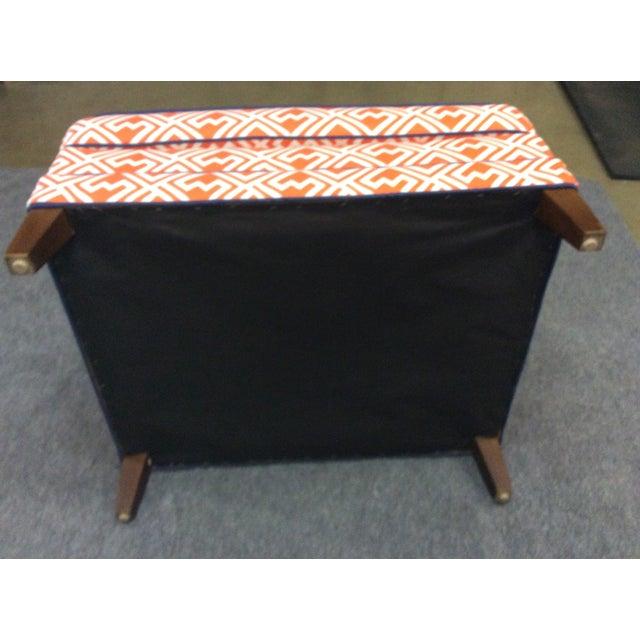 Vintage Orange & White Ottoman For Sale - Image 7 of 8