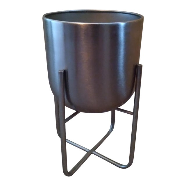 Contemporary Indoor Silver Metal Planter For Sale