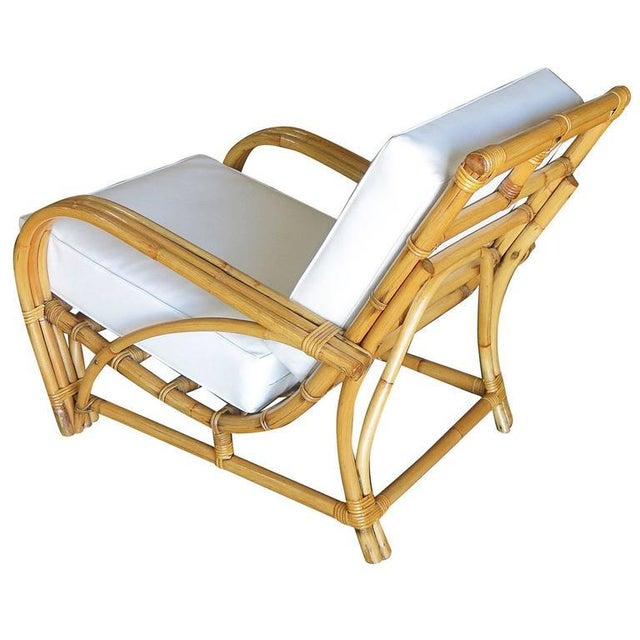 """Restored Three-Strand """"1940s Transition"""" Rattan Lounge Chair For Sale - Image 4 of 5"""