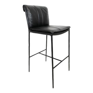 Bentley Black Leather Bar Stool For Sale