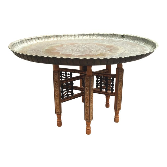 Moorish Moroccan Pharaoh Tray Table Wooden Folding Stand - Image 1 of 5