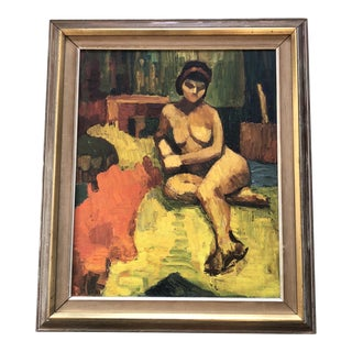Vintage Mid Century Female Nude Interior Painting For Sale