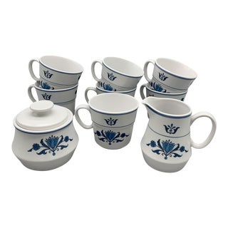 1960s Noritake Blue Haven Creamer, Sugar Bowl, and Flat Cups - Set of 9 For Sale