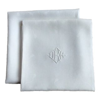 Early 20th Century Antique French Linen Napkins - A Pair For Sale