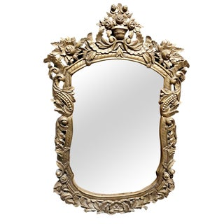 1920s Antique Gold Solid Wood Carved Mirror For Sale