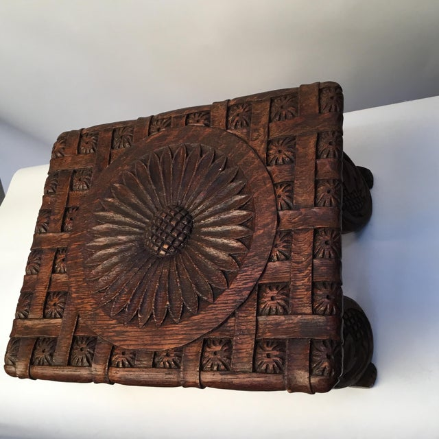 1900s Antique English Hand Carved Footstool For Sale - Image 4 of 12