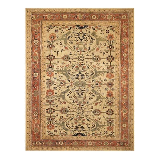 "Kafkaz Lavastone Low-Pile Alethia Tan/Rust Wool Rug - 12'10"" X 17'1"" For Sale"