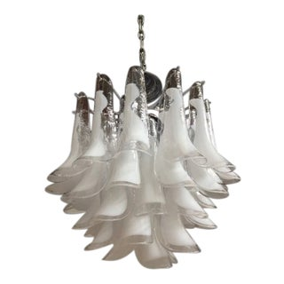 "Mazzega Style Vintage Murano Glass ""Selle"" Chandelier For Sale"
