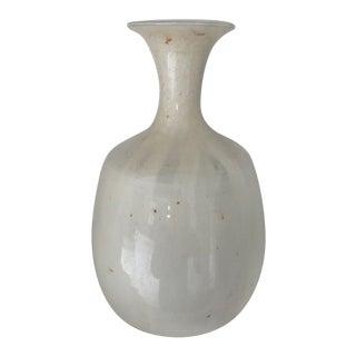 Modern Cream Handmade Pottery Vase For Sale
