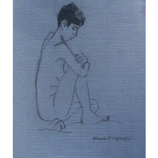 Figurative Drawing, Blue Nude For Sale