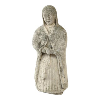 French Concrete Nun Statue For Sale