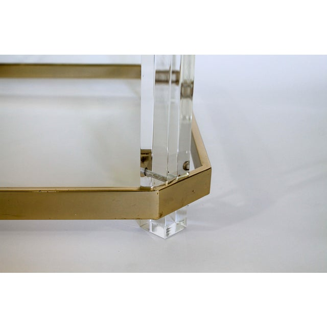 Lucite & Brass Side Table For Sale - Image 9 of 11