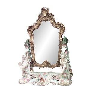 19th Century German Meissen Porcelain Dressing Table Mirror For Sale