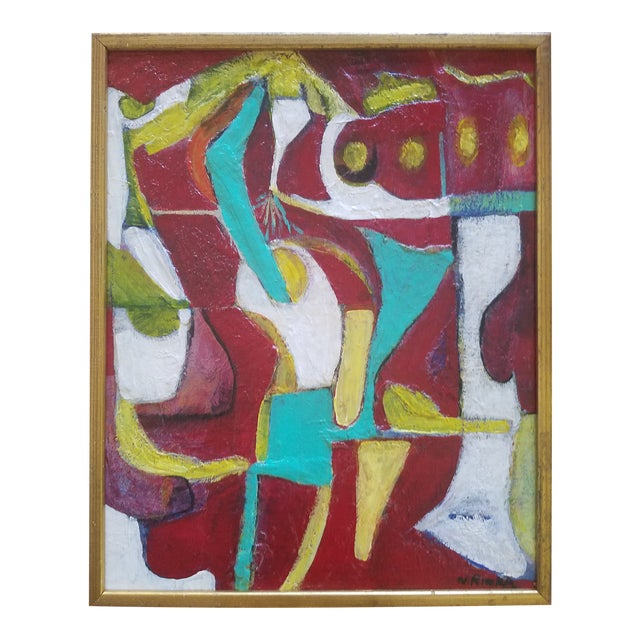 """1980s """"Red Bar"""" Abstract Painting For Sale"""