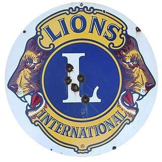 Large 1950s Lions Club Enameled Porcelain Sign For Sale