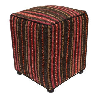 1990s Horvath Brown Purple Handmade Kilim Upholstered Ottoman For Sale