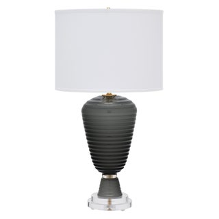 Gray Murano Glass Table Lamp For Sale