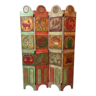 1970s Vintage Mid Century Mod Signs of the Zodiac Folding Room Divider For Sale