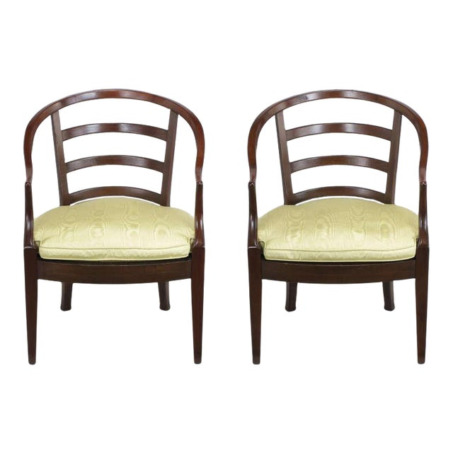 Pair Bert England For Baker Mahogany Barrel Back Arm Chairs - Image 1 of 10