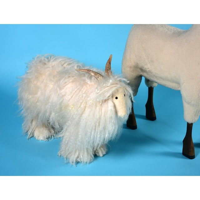 Vintage Sheep or Mountain Goat With Natural Horns, Made by Hand Circa 1960s For Sale - Image 9 of 10
