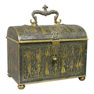 Renaissance Revival Damacened and Bronze Casket For Sale