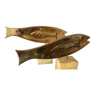 Brass Fish Sculptures by Curtis Jere - A Pair For Sale