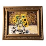 Image of Original Vintage Impressionist Painting With Sunflowers Signed For Sale