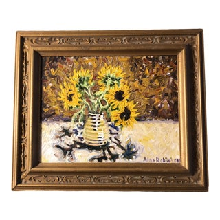 Original Vintage Impressionist Painting With Sunflowers Signed For Sale