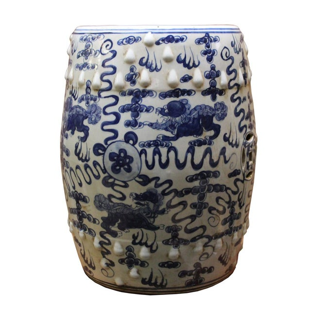 Chinese Blue & White Porcelain Foo Dogs Stool - Image 4 of 6