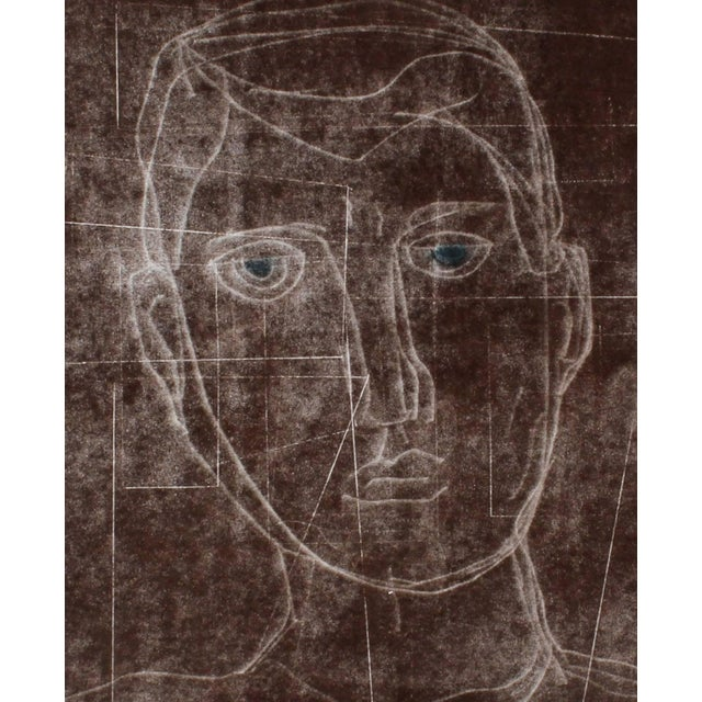 """2010s Rob Delamater """"Self Portrait I"""" Monoprint and Gouache Painting in Brown, 2014 2014 For Sale - Image 5 of 5"""