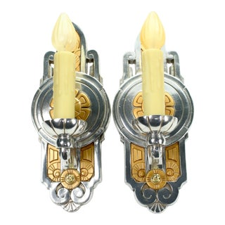 1930s Art Deco Polished Wall Sconces With Candle - a Pair For Sale
