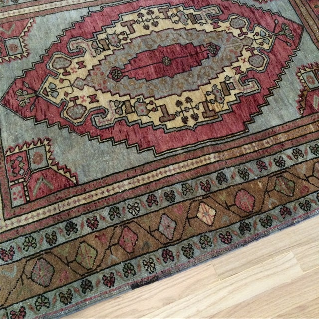 "Antique Turkish Blue & Red Rug - 4' x 5'9"" - Image 3 of 7"