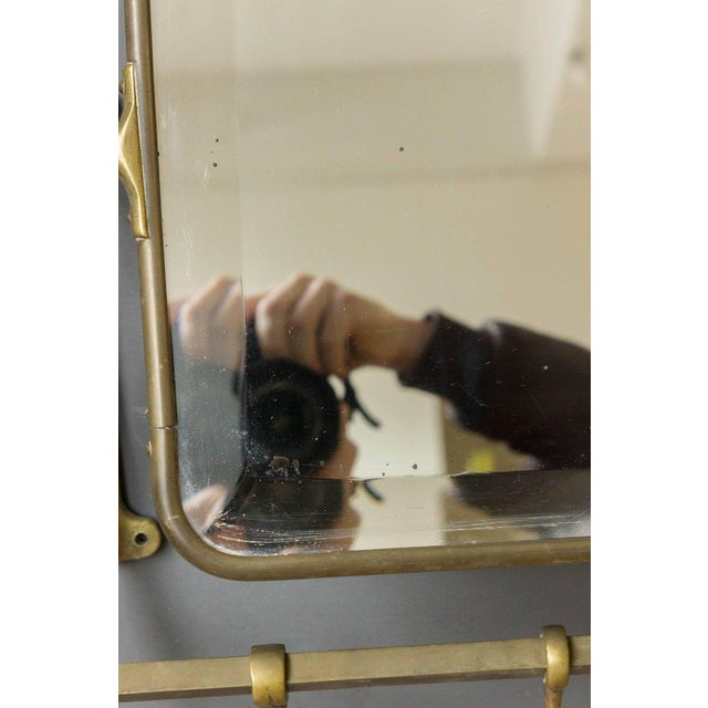 Brass Coat Rack With Mirror and Hooks - Image 5 of 9