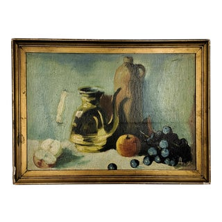Vintage Oil Still Life Painting With Gold Frame
