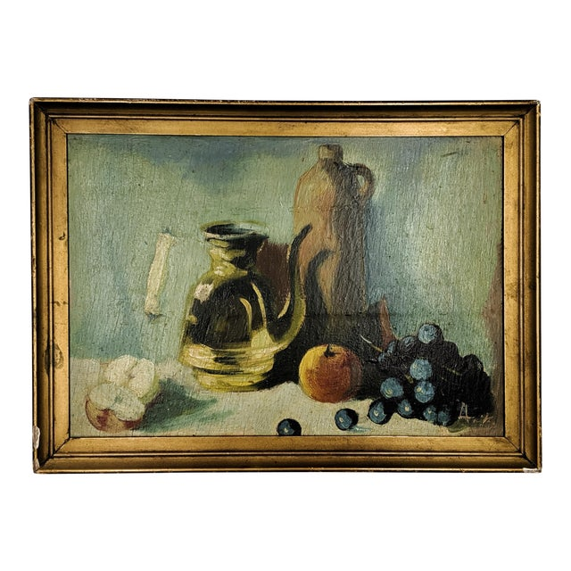 Vintage Oil Still Life Painting With Gold Frame For Sale