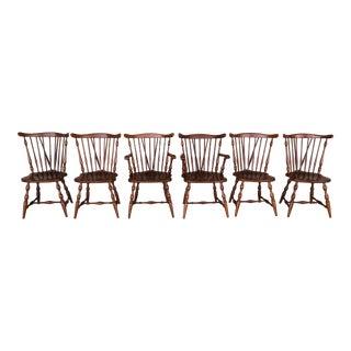 Henkel Harris Solid Cherry Windor Brace Back Dining Chairs - Set of 6