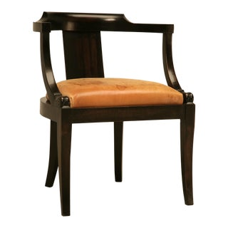French Ebonized Mahogany Antique Desk Chair with a Leather Seat Cushion For Sale